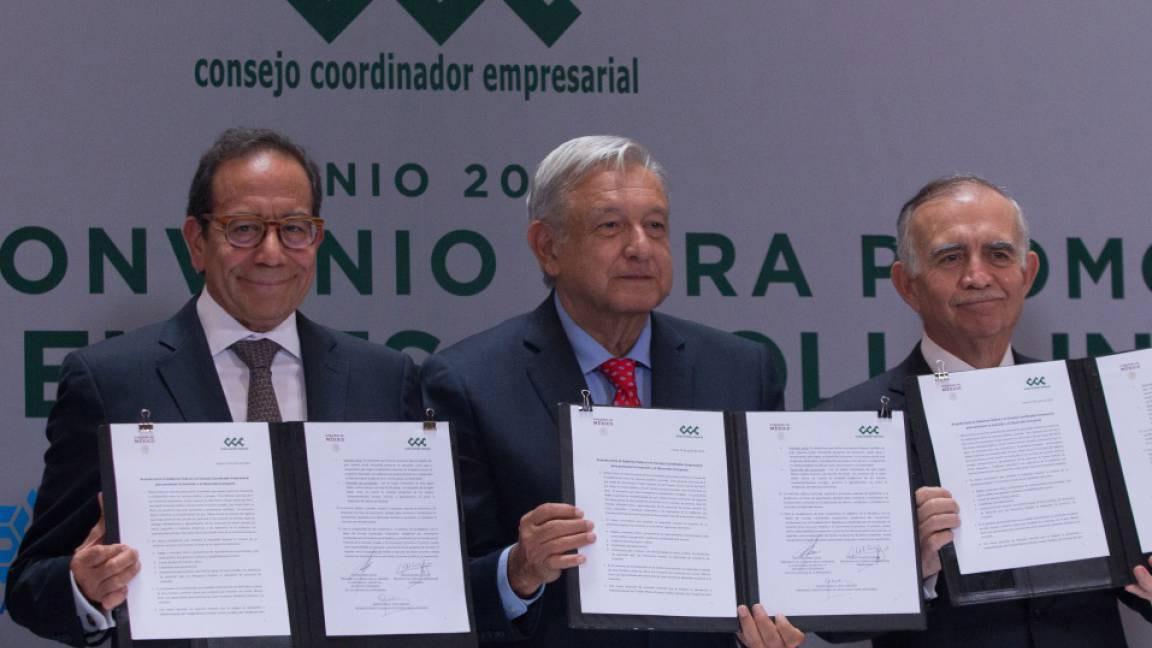 FIRMAN GOBIERNO Y EMPRESAS ACUERDO PARA BUSCAR CRECIMIENTO ECONÓMICO.